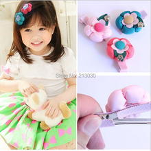 2014 New arrival Kids Hair Clip with five-petaled flowers BB clip cushaw flower  and metal rose accessory 12pcs/lot