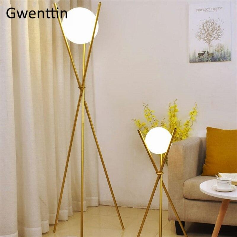 Modern Floor Lights Standing Lamps For Living Room Loft: Modern Glass Floor Lamps Gold Tripod Standing Lights For