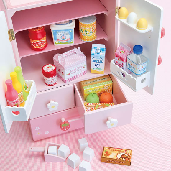 Free Shipping! Baby Toys Deluxe Double Door Refrigerator Wooden Toys Child Furniture Toys Play House Toys Gift