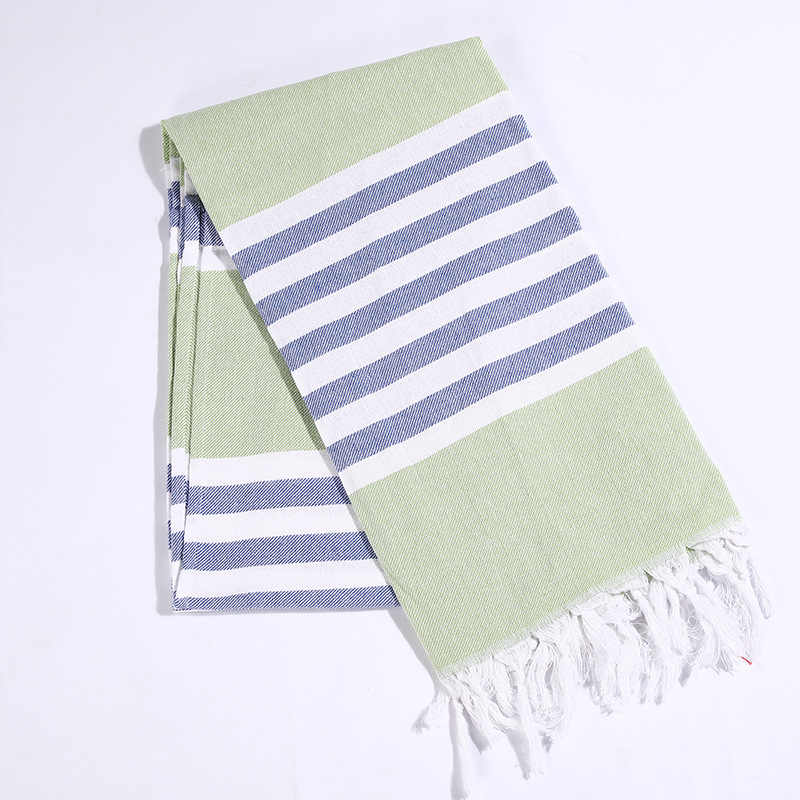 Striped Cotton Turkish Bath Towel with Tassels Thin Travel Camping Bath Sauna Beach Gym Pool Blanket Absorbent Easy Care