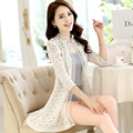 The new spring and summer 2016 Korean ladies knitted shawl sleeve short sleeved lace openwork cardigan jacket woman