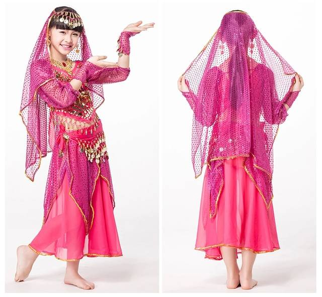 7629c0c18 Online Shop Indian Dresses Sari Children Dance Wear 5-piece Set ...