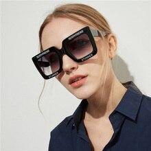 SO&EI Retro Oversized Letter Square Women Luxury Sunglasses Red Gray Gradient Lens Fashion Vintage Men Sun Glasses Shade UV400