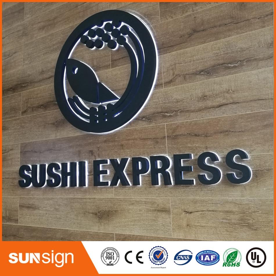 Black painted stainless steel backlit 3d shop logo