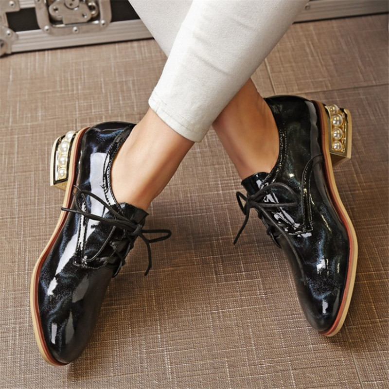 Plus Size 34-43 Women oxfords shoes genuine Cow Patent Leather Lace up moccasins Ladies Casual Beading Strange Style Party shoes genuine leather baby shoes lace up toddler baby moccasins mixed colors boys shoes first walkers free shipping