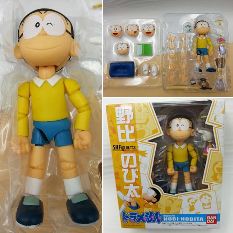 12cm Japanese Anime figure Cartoon Doraemon The Robot Spirits Nobi Nobita PVC Action Figure kids Toy for boys girls