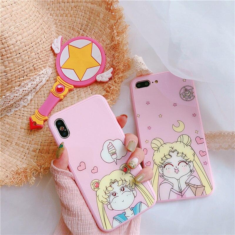 Japan Pink Kawaii Sailor Moon Anime Phone Case For iPhone