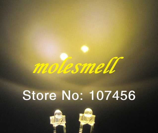 1000pcs 1 8mm warm white Ultra Bright LED lamps 1 8mm water clear led warm white