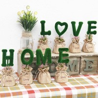 10boxes four one box two size high quality cloth bag green letter Ball Vase Tank Hanging Flower Pot Plant Vase Home Decoration