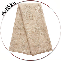 New Nigerian French Tulle Lace Fabric High Quality Latest African Lace Embroidery Coral Cream Wedding Nigeria Lace Fabric 2018