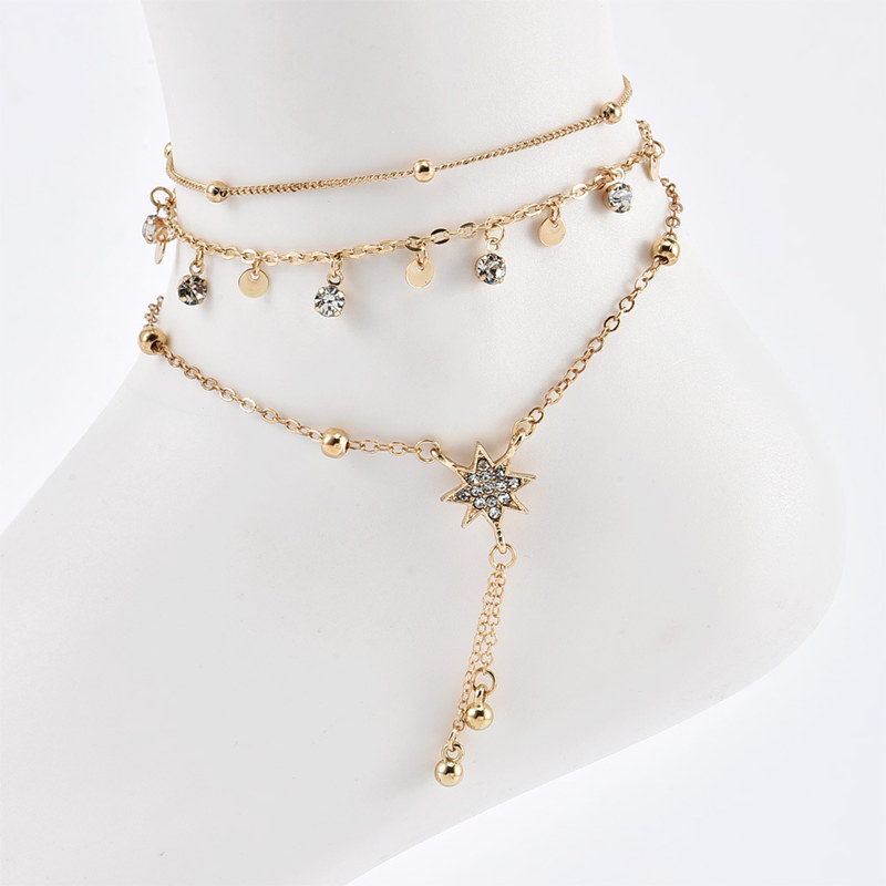 3 Pcs/Set New Fashion Gold Crystal Sequins Star Beads Anklets for Women Bracelet on The Leg Foot Beach Jewelry Accessories 5