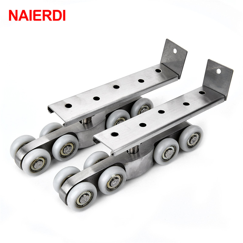 NAIERDI stainless steel 8 Wheels Sliding Door Roller Bear 120KG Wardrobe Wood Door Hanging Wheels For Furniture Hardware bqlzr wardrobe door cabinet door hardware stainless steel roller pulley small hanging rail with 4 wheels pack of 2