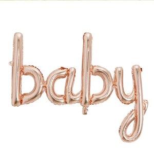 Image 2 - Große Größe 90x60cm Link Rose Gold Hallo Baby Folie Luftballons Baby Dusche 1st Geburtstag Party Dekoration Kugeln aufblasbare Luft Globos