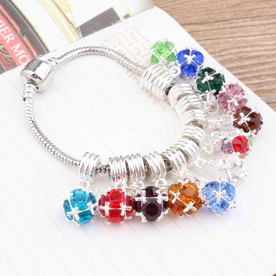 DIY Jewelry Findings Crystal Glass Round ball Decorated Silver Tone Alloy Necklace Jewelry Pendant Floating Charms 20PCs Mixed