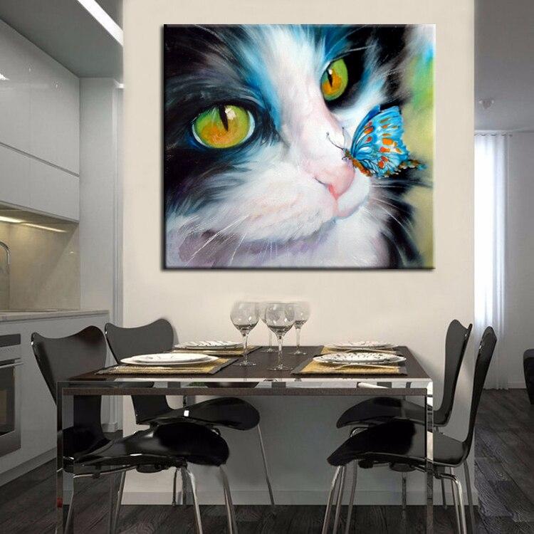 Artista pintado a mano de alta calidad moderno impresión gato ...