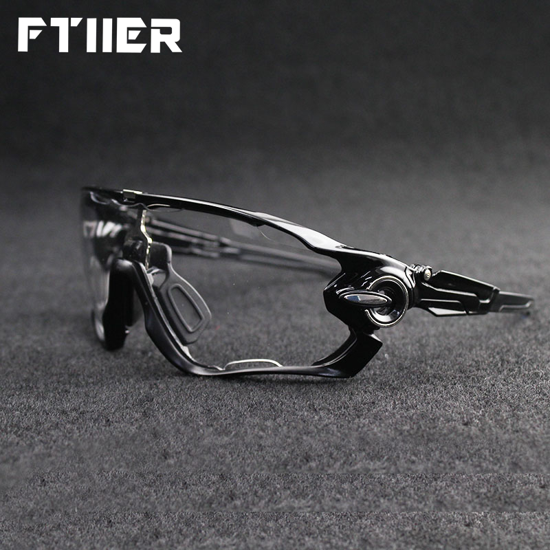 Ftiier 2 Lens Photochromic Cycling Sunglasses Outdoor Bike Bicycle Motorcycle Sun Glasses Men Women MTB Camping