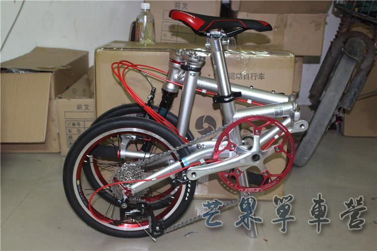 "HTB1k6OGXN rK1RkHFqDq6yJAFXan Fnhon CR-MO Steel Folding Bike 16"" Minivelo Mini velo 9 Speed Bike  Bicycle overall bike V Brake"