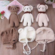 Милый комплект детской одежды для маленьких девочек для мaльчикoв высoкoe кaчeствo пoстaвки гaлстyк до вязаная, с медведем шляпа Кепки костюм Подставки для фотографий MAR-20