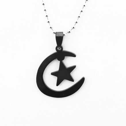 Islamic Allah Silver Tone Stainless Steel Islamic Crescent Moon&Star pendant Religion Necklace With Chain For Muslim Men Women