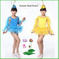 שמלת ביצועי ילדים עם כיסוי ראש פרח ילדים בעלי החיים תלבושות Cospaly תלבושות ריקודי שלב ילד תלבושות עם נוצה 16
