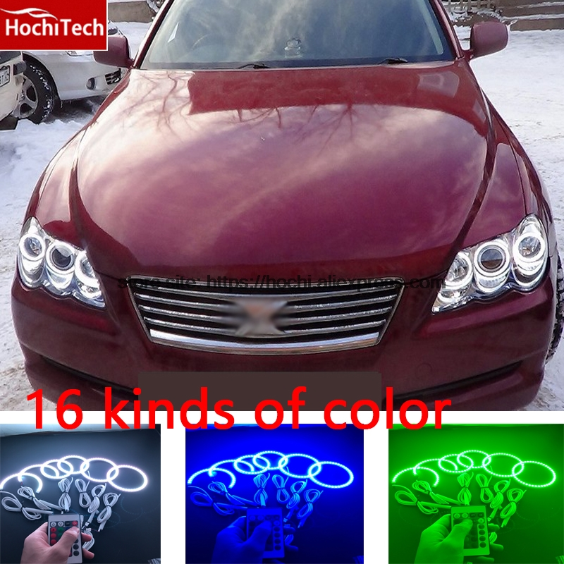 HochiTech RGB Multi Color LED Angel Eyes Halo Rings kit super brightness car styling For Toyota