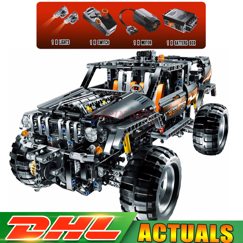 DHL Clone 8297 Lepin 20030 Technic Off Roader Building Blocks With Electric Motors Power Functions Model Bricks Toy lepin 20030 technic ultimate series the 1132pcs off roader set children educational building blocks bricks toys model gifts 8297