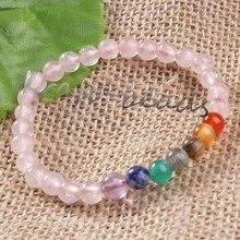 Wholesale 10Pcs Charm natural Rose Quartz precious stone Round Shape Beads Stone chakra healing Bracelets Jewelry Gift