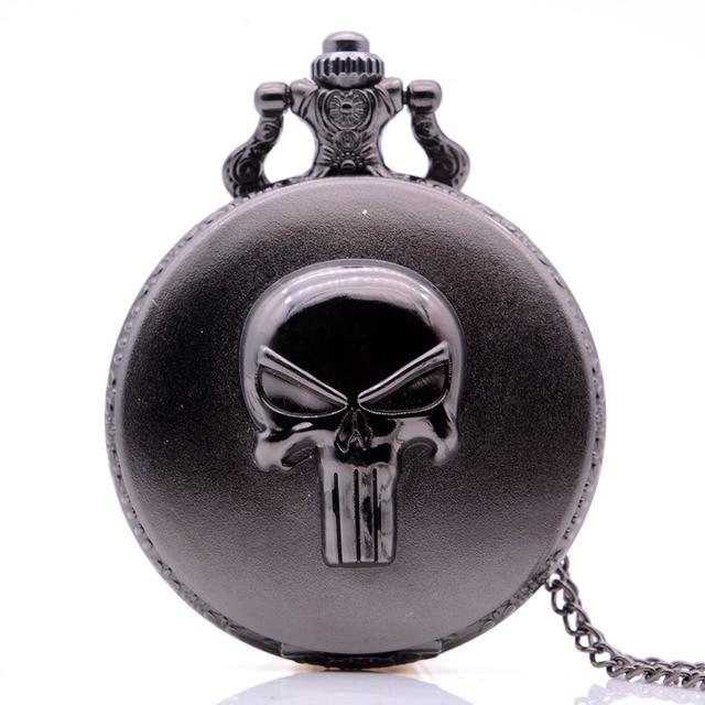 Retro Vintage The Punisher Skull Dial Roman Numeral Quartz Pocket Watch Analog P