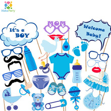 It's A Boy Baby Shower Boy Birthday Party Decorations Supplies Gender Reveal Photo Booth Props on A Stick DIY Kits Gifts Blue