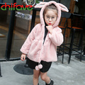Children Coat 2016 Winter Baby Girls Princess Warm Cotton Padded Clothes Outerwear Kids Velvet Cute Rabbit Ear Hooded Jacket