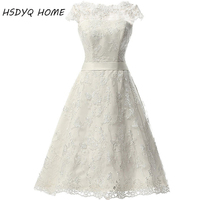 HSDYQ HOME Summer White Short Wedding Dresses Lace Bridal Gown Cap Sleeve Zipper Back Vestidos De