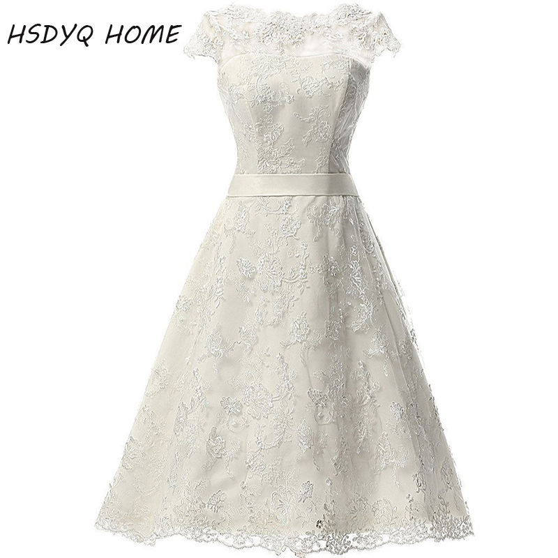 HSDYQ HOME Summer White Short Wedding Dresses Lace Bridal Gown Cap Sleeve Zipper Back Vestidos De Novia Real Picture