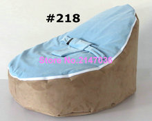 Blue seat with Camel base white Canvas Baby infant Bean Bag Snuggle Bed Portable Seat No Filling