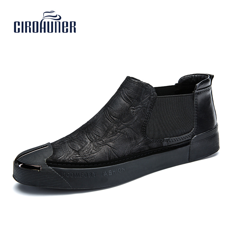 CIROHUNER Handmade Genuine Leather Shoes Winter Men Dress Shoes New Fashion Men Wedding Dress Shoes Black Flat Business S
