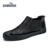 CIROHUNER Handmade Genuine Leather Shoes Winter Men Dress Shoes New Fashion Men Wedding Dress Shoes Black Flat Business S
