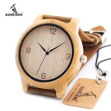 BOBO Marca PÁJARO de Bambú de Los Hombres Relojes Con Genuino Del Zurriago Marrón Madera Correa de cuero Reloj para Los Hombres y Las Mujeres como Regalos artículo