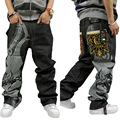 New Arrival Men's Hiphop Zipper Fly Loose Mid Softener Straight Midweight Full Length Print Embroidery Jeans Size 42 44