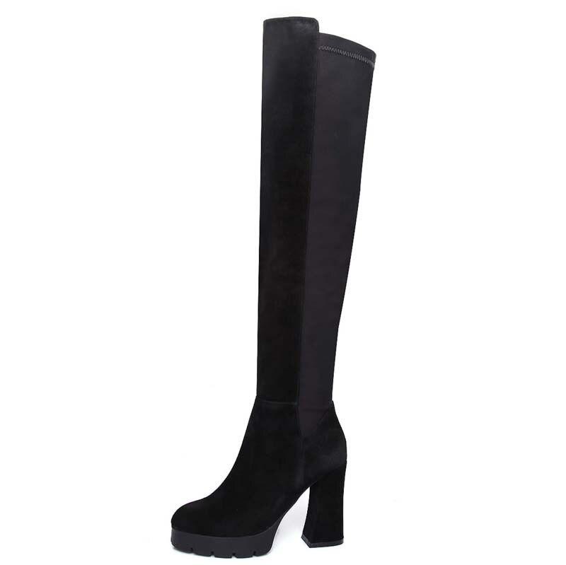 ФОТО High quality Long Boots ForWomen New Hot warm Platform Pumps Round Toe Square heel Zip High Boots Shoes Women Long Boots