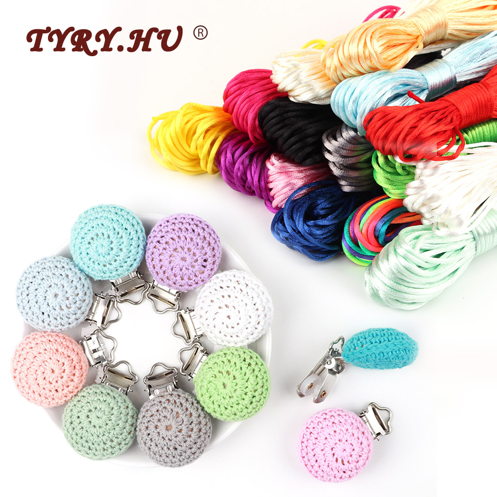 TYRY.HU Wooden Baby Teether Pacifier Clips Rope For DIY Jewelry Charms Necklace Pendants Tool  Wood Children Holders Accessories