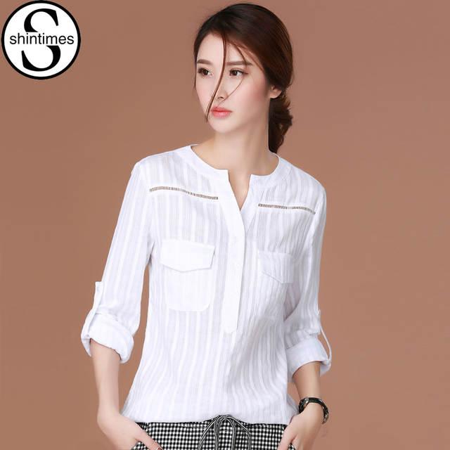 4597ddf7d placeholder Chemise Femme Shintimes Coreano Blusa Branca Camisa 2018 Manga  Longa Das Mulheres Camisas Blusas Das Senhoras