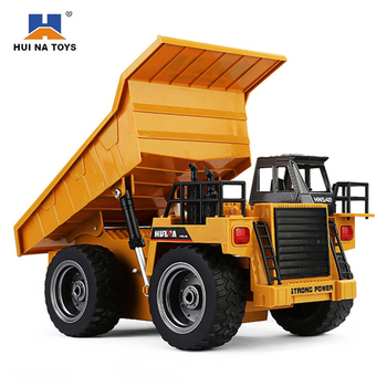 HuiNa 1540 RC Truck Toys Six Channel 6CH 1/12 40HMZ Metal Dump Trucks Remote Control Toys RTR With Charging Battery Alloy Truck