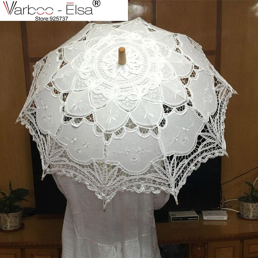 √Hecho a mano blanco del Parasol del cordón nupcial de la boda de ...