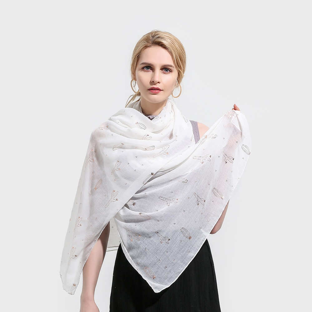 Winfox Ladies Womens White Grey Pink Color Cactus Rose Gold Foil Print Fashion   Scarf     Wrap   Shawl   Scarves