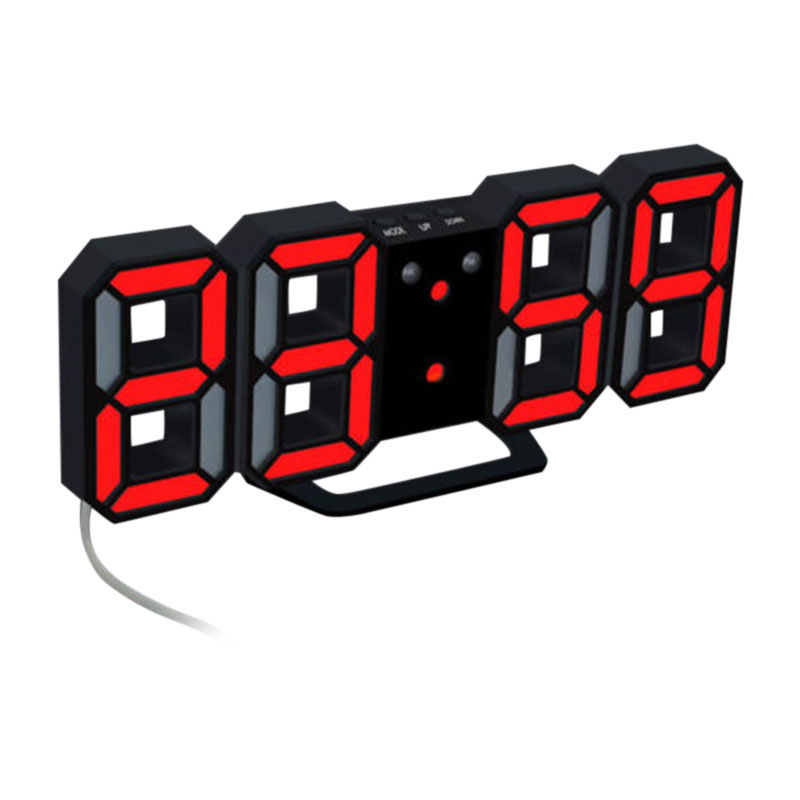 3D LED Wall Clock Modern Design Digital Table Clock Alarm Nightlight Watch For Home Living Room Decoration 24/12 Hour Display image