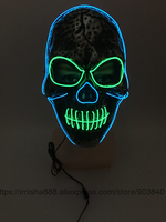 2016 New Design Scary Mask LED EL Glowing Halloween Party Gifts Flashing Mask Adult Party DIY