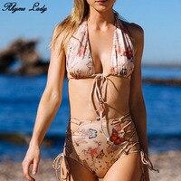 Rhyme Lady Backless Bikini Set Brazilian Ruffle Bandage Women Swimwear Bathing Suit Push Up Beach Wear
