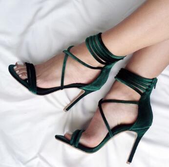 Sexy Partito Sottili Di Donne legato Verde Modo Dei Alti New Gladiatore Cross Unico Scarpe Tacchi Vestito Sandali Pattini qwPzOw