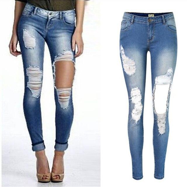 2017 moda lápiz Pantalones chica agujero jeans Mujer flaco pantalones  vaqueros rasgados para las mujeres vaqueros a6c29e2bf044