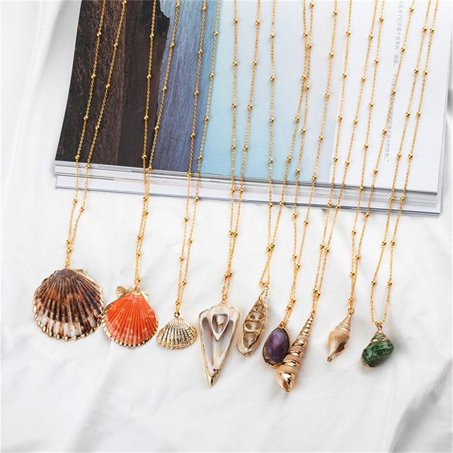 20 Styles Seashell Pendants Initial Necklace female Statement Jewlery 2