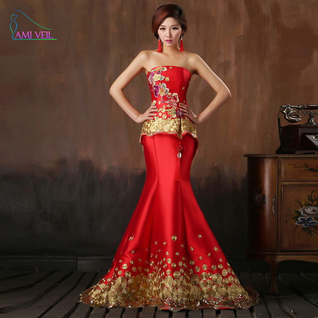 e9463f5ab4c Chinese style Red Wedding Dresses Long Design Married Chinese Embroidery  Cheongsam Formal Bride Mermaid Beading Dress